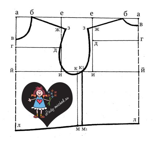 От точки а до точки в спереди отмеряют тоже l окружности шеи, уменьшая размер на 1/2см (подсчет: 24:4=6; 6-1/2=5 1/2см